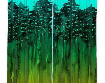 FOREST Trees Turquoise Green Lime Window Curtains Multiple Sizes Abstract Watercolor Art Decor Bedroom Kitchen Lined Unlined Woven Fabric
