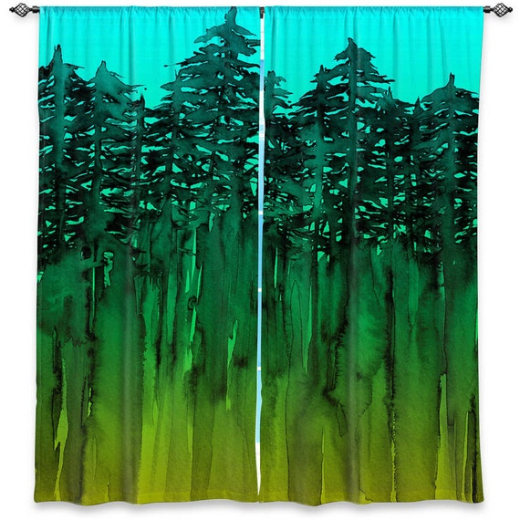 Forest Trees Turquoise Green Lime Window Curtains By Ebiemporium