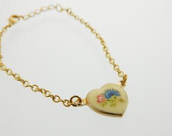 Vintage Blue and Pink Flower Heart Bracelet