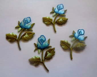 Victorian Rosebud Apple Embroidered Iron - On Applique, Multi / Blue, x 4, For Romantic & Victorian Crafts