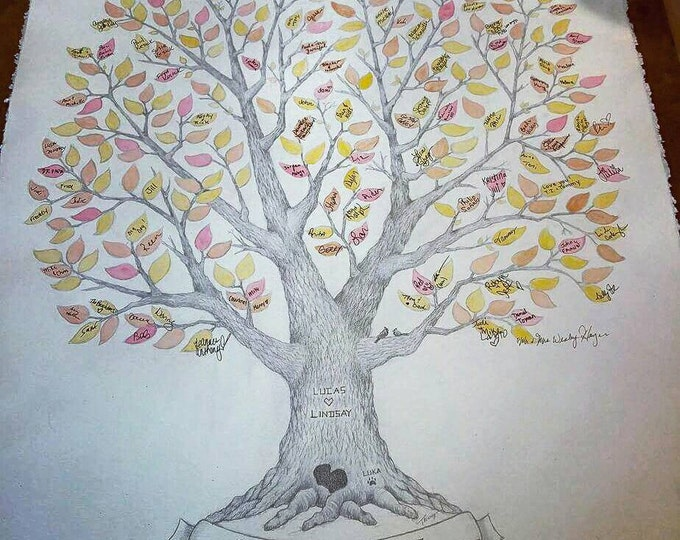 "Featured listing image: Large 22"" x 30"" Wedding Guest Book Tree OR Family Reunion Tree ~ Custom, Hand-Drawn & Watercolored~FREE US Shipping"