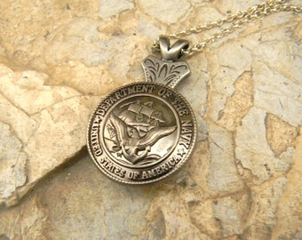 US Navy Silver Necklace, Western Womens Mens MilitaryJewelry, US Navy Wife Girlfriend USN Navy, Navy Wedding Gift, Bridesmaid Groomsmen Gift