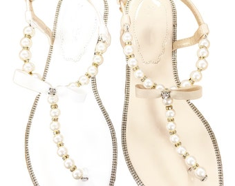 Women Pearls Flat Sandals - White and Nude Patent Pearl/Rhinestones flat sandal. Perfect for brides, bridesmaid gifts, wedding party