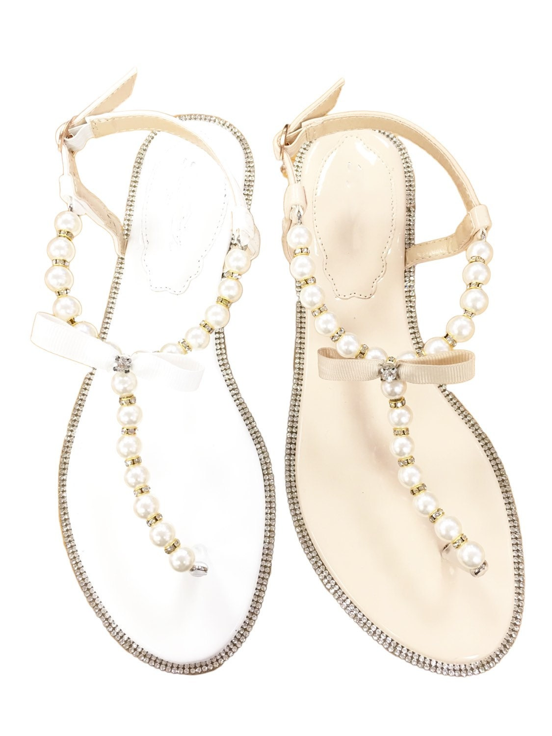 Womens sandals etsy - Women Pearls Flat Sandals White And Nude Patent Pearl Rhinestones Flat Sandal Perfect
