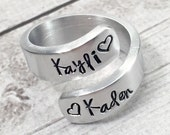 Mothers Ring - Name Ring - Ring with Kids Names - Mom Ring - Mommy Ring - Hand Stamped Wrap Ring - Personalized Ring