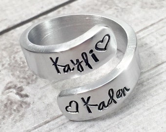 Mothers Ring - Ring with Kids Names - Mom Ring - Mommy Ring - Name Ring - Hand Stamped Wrap Ring - Personalized Ring - Custom Ring