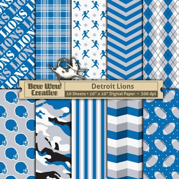 Printable Birthday Party Invitation Card Detroit Lions: 10 Detroit Lions Pattern Digital Papers For Scrapbooking