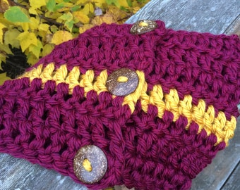 MN Gopher Crocheted Scarf with Buttons Hand Made in USA