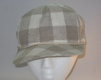 Neutral Cream and Beige Plaid Linen Baseball Cap