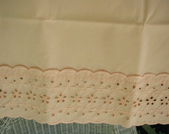Vintage Bed Sheet Set,Peach Color with Eyelet Cuffs, 4 PIeces,  Full-Double Bed Size, Shabby Cottage