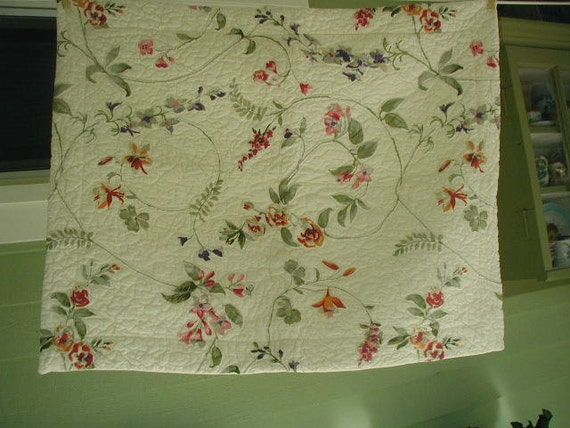 Vintage Quilted White Pillow Sham Floral Print Off White