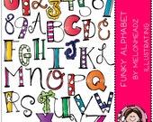 Funky Alphabet clip art
