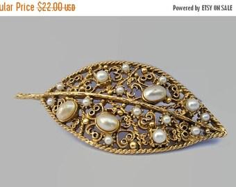 ON SALE Florenza Brooch, Pearl and Gold Tone Filigree Leaf