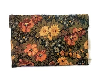 Vintage Tapestry Envelope Clutch, Shirl Miller Handbag, Boho Chic Fashion Trend