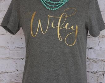 Wifey Tee Heather Gray, Wifey Shirt