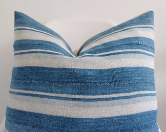 Authentic African mudcloth solid indigo pillow cover
