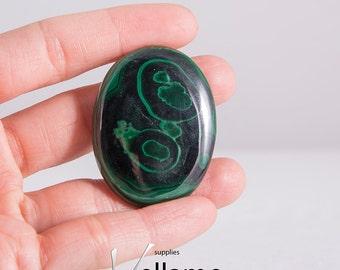 Green malachite drilled oval or cabochon, large natural 100% genuine untreated oval, beautiful designer stone, dark green malachite gemstone