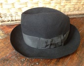 1940s French Black Fedora Felted Wool Hat Agen, France