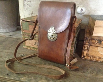 Leather Folding Camera Case, Travel, Made in England, Leather Crossbody Carry Strap