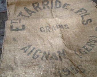1966 French Burlap Grain Sack Jute Hessian Upholstery Pillow Craft Fabric Tarride and Fils, Aignan Gers Dated