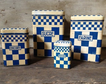 French 1930s Storage Tins Canisters Blue and White Check Set of 4 French Farmhouse