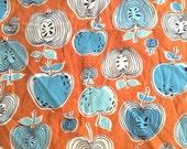 1940s Cute Teal Blue Apples Vintage Fabric 40s Modern Cotton Print Mid Century Kitsch Americana Cute Bright Fun