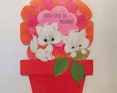 Unused Valentine Card / Vintage With Love to Mommy Valentine Card Kittens Tri-Fold Die-Cut American Greetings unused, unsigned 1960s-1970s
