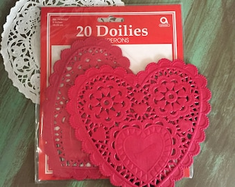Heart Doilies / 20 Paper Doilies Valentines Day 6 inches / Red Heart Doilies, great for Altered Art, Mixed Media, Cards, Journals, etc.