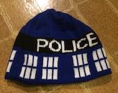 Police Box Beanie Hat - Medium, Blue