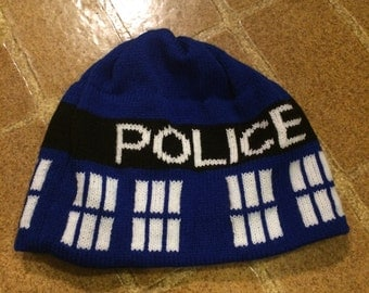 Police Box Beanie Hat - Medium, Blue