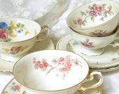 SALE tea set mismatched tea cups and saucers vintage teacups high tea bridal shower tea set tea party mismatched floral teacup tea party C15