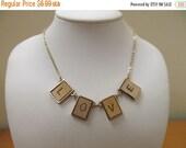 ON SALE Vintage LOVE Wooden Panel Necklace Item K # 2330
