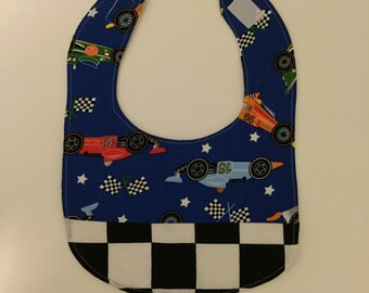 Bib with Race Cars and Checkered Flag Fabric
