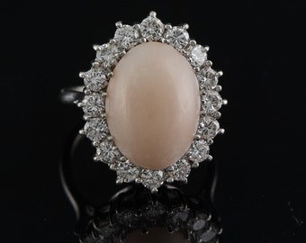 Spectacular natural angel skin coral and diamond one off ring