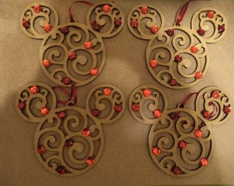 Set of 4 Country Style Mickey Mouse Icon Ornaments / RED