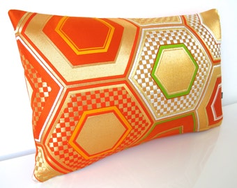 Stunning Geometric Pillow in Woven Metallic Silver, Orange & Gold Hexagons made from Rare Japanese Obi Silk Modernist Home Decor