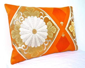 Luxury Ltd Edition Pillow Cushion in a Metallic Orange & Gold Floral design made in London from Vintage Japanese Obi Silk. A perfect gift