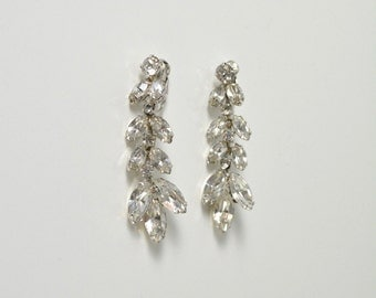 Vintage 1950s 50s Rhinestone Dangling Earrings Prong Set Stones Glamour Movie Star Burlesque Old Hollywood
