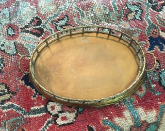 Oval Brass Tray with Bamboo Rails