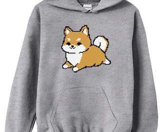 Pixel 8-Bit Shiba Hoodie Sweatshirt