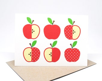 Handmade Blank Card - Red Polkadot Apples - BLA043 / Thank You Card / Card Bank / Teacher Card
