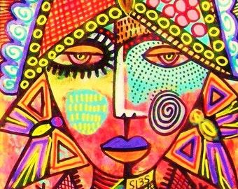 Talavera Butterfly Woman )( SILBERZWEIG ORIGINAL PAINTINGS Raw Brut Folk Tribal Animals, Creatures, Masks, Goddess, Spiritual, Queen, Wisdom