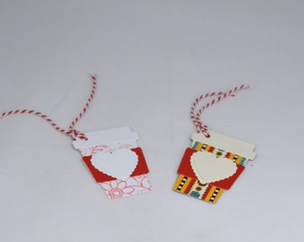 3 Coffee Cup Gift Tags with Hearts