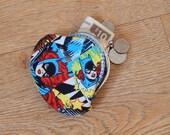 Batgirl comic book patterned metal frame coin purse