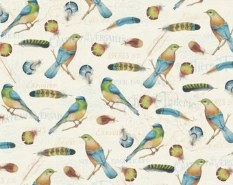 David Textiles fabric BIRDS and FEATHERS