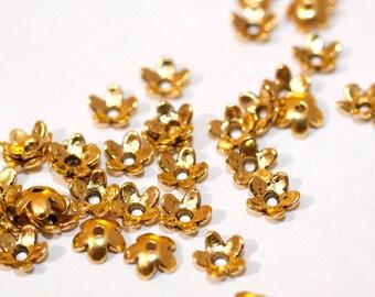 250pc Gold Bead Caps Flower Caps 6.5mm