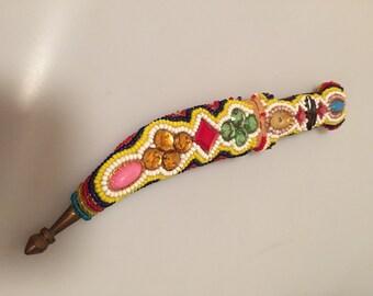 Vintage Dagger JEWELED Dagger BEADED DAGGER Knife Sheath Fancy Beadwork Jewels Movie Prop