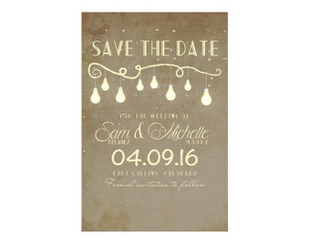 Light Bulb Rustic Save the Date with Script Font
