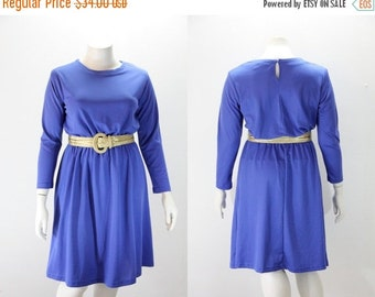 SALE 40% off XXL Vintage Dress - Long Sleeved Royal Blue
