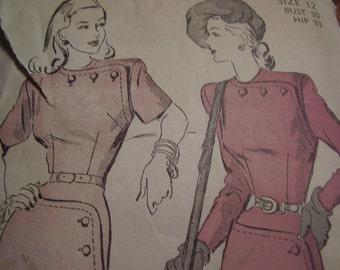 Vintage 1940's Advance 4748 Dress Sewing Pattern, Size 12, Bust 30